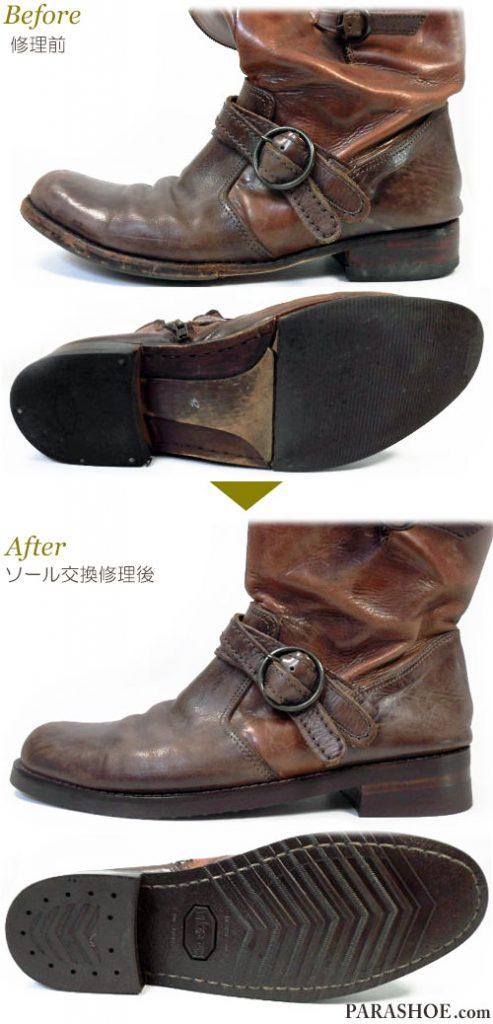 メンズ リングブーツ 茶色(革靴・カジュアルシューズ・紳士靴) オールソール交換修理(靴底張替え修繕リペア)/ビブラム(vibram)700(ダークブラウン)-マッケイ製法 修理前と修理後