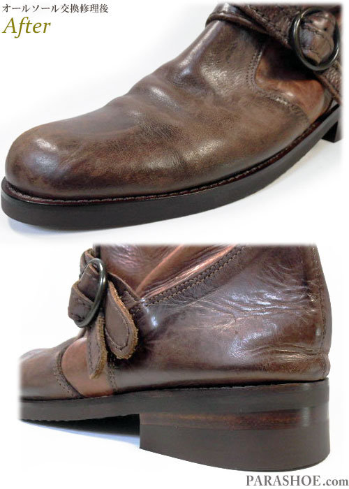 メンズ リングブーツ 茶色(革靴・カジュアルシューズ・紳士靴) オールソール交換修理(靴底張替え修繕リペア)/ビブラム(vibram)700(ダークブラウン)-マッケイ製法 修理後のウェルト部分とヒール革積み上げ部分