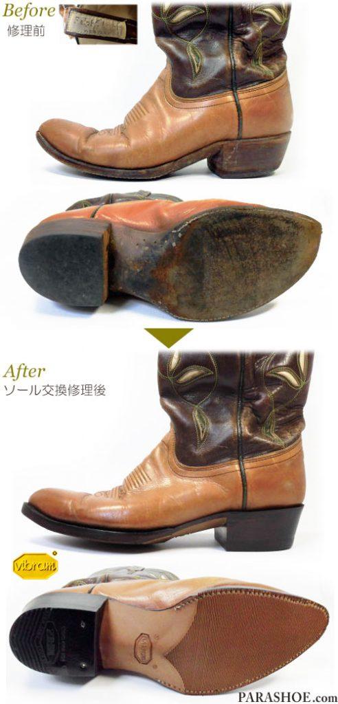 ポロ ラルフローレン(POLO RALPH LAUREN)ウエスタンブーツ 茶色 オールソール交換修理(靴底張替え修繕リペア)/ビブラム(vibram)269(アーバン)+革積み上げヒール+全ゴムリフト-グッドイヤーウェルト製法 修理前と修理後