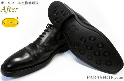 リーガル(REGAL)ストレートチップ ドレスシューズ 黒(メンズ 革靴・ビジネスシューズ・紳士靴)オールソール交換修理(靴底張替え修繕リペア)/ビブラム(vibram)2055イートンソール(黒)-グッドイヤーウェルト製法 修理後