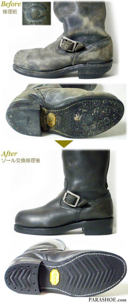 チペワ(CHIPPEWA)エンジニアブーツ 黒(メンズ 革靴・カジュアルシューズ・紳士靴)オールソール交換修理(靴底張替え修繕リペア)/ビブラム(vibram)700(黒)+レザーミッドソール+革積み上げヒール-グッドイヤーウェルト製法&革靴(ブーツ)丸洗いクリーニング 修理前と修理後