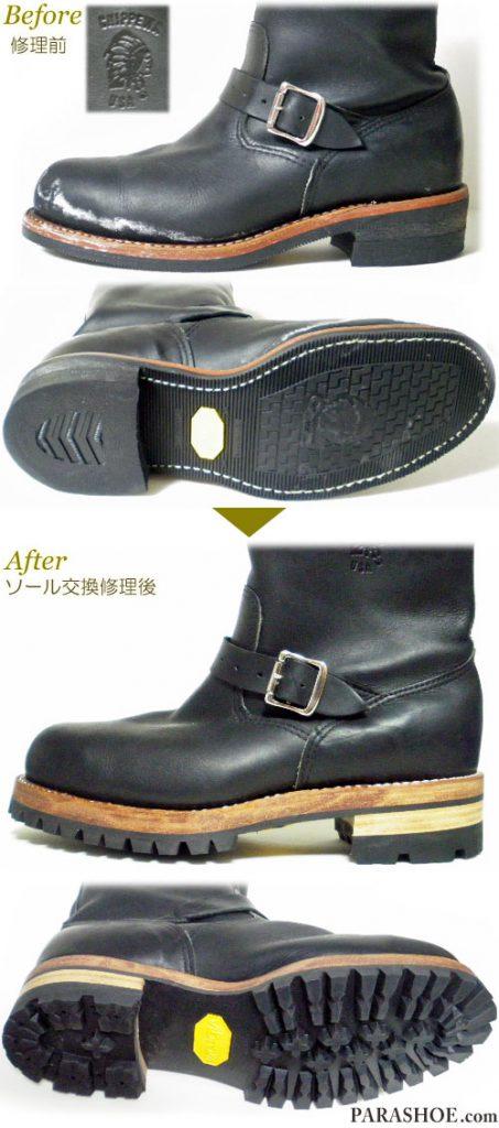 チペワ(CHIPPEWA)エンジニアブーツ 黒(メンズ 革靴・カジュアルシューズ・紳士靴)オールソール交換修理(靴底張替え修繕リペア)/ビブラム(vibram)700(黒)+トリプルレザーミッドソール(厚底仕様)+革積み上げヒール-グッドイヤーウェルト製法 修理前と修理後