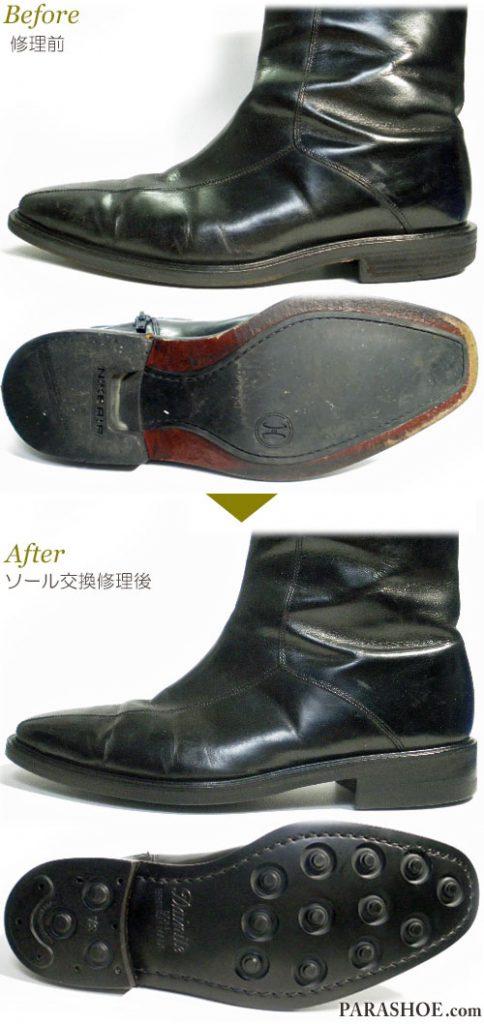 コールハーン(Cole Haan)×ナイキエアー(NIKE AIR)ジップアップブーツ ドレスシューズ 黒(メンズ 革靴・ビジネスシューズ・紳士靴)オールソール交換修理(靴底張替え修繕リペア)/英国ダイナイトソール(Dainite sole)黒-マッケイ製法 修理前と修理後