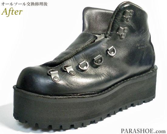 ダナー(Danner)マウンテンブーツ 黒(メンズ 革靴・カジュアルシューズ・紳士靴)オールソール交換修理(靴底張替え修繕リペア)/ビブラム(vibram)148 黒+厚底(上げ底)仕様-ステッチダウン製法 修理後の厚底ソール部分
