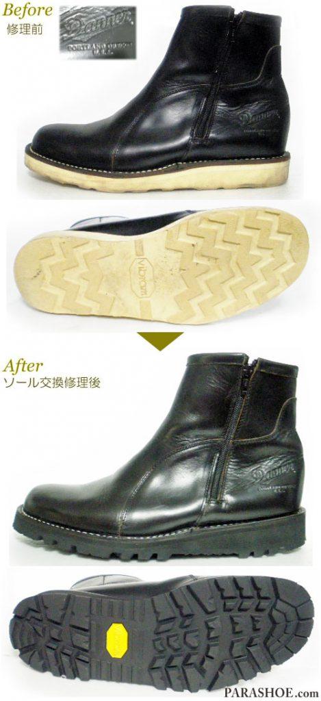 ダナー(Danner)ジップアップブーツ 黒(メンズ 革靴・カジュアルシューズ・紳士靴)オールソール交換修理(靴底張替え修繕リペア)/ビブラム(vibram)1276(黒)-ステッチダウン製法 修理前と修理後