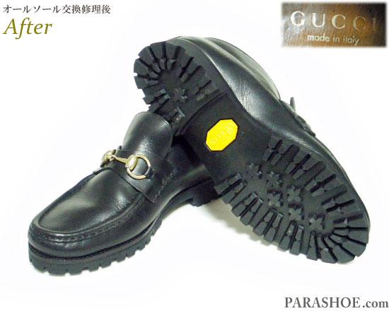 グッチ(GUCCI)イタリア製 ビットモカシンローファー ドレスシューズ 黒(メンズ 革靴・ビジネスシューズ・紳士靴)のオールソール交換修理(靴底張替え修繕リペア)/ビブラム(vibram)1136 黒-マッケイ製法 修理後
