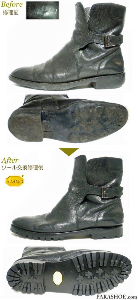 グッチ(GUCCI)イタリア製 ベルトレザーブーツ 黒(メンズ 革靴・ビジネスシューズ・紳士靴)のオールソール交換修理(靴底張替え修繕リペア)/ビブラム(vibram)1136 黒-マッケイ製法 修理前と修理後