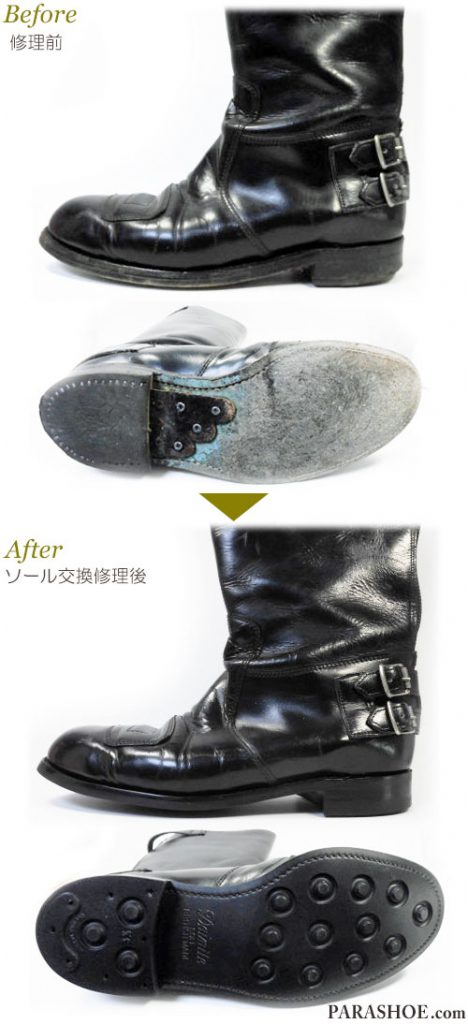 メンズ バイカーブーツ(バイク用レザーブーツ)黒 オールソール交換修理(靴底張替え修繕リペア)/英国ダイナイトソール(Dainite sole)黒-グッドイヤーウェルト製法 修理前と修理後