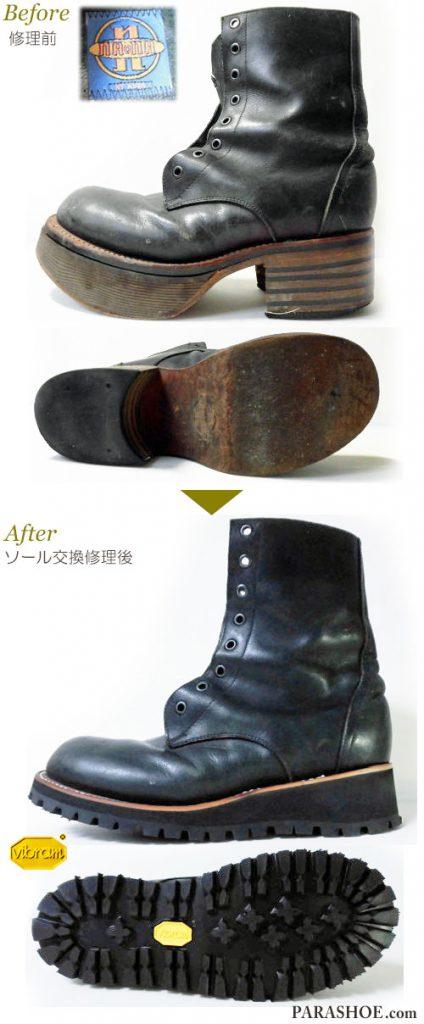 ナオナ(naona)レースアップ 高寸(上げ底)レディースブーツ 黒(革靴・カジュアルシューズ・婦人靴)オールソール交換修理(靴底張替え修繕リペア)/ビブラム(vibram)148 黒-マッケイ製法 修理前と修理後