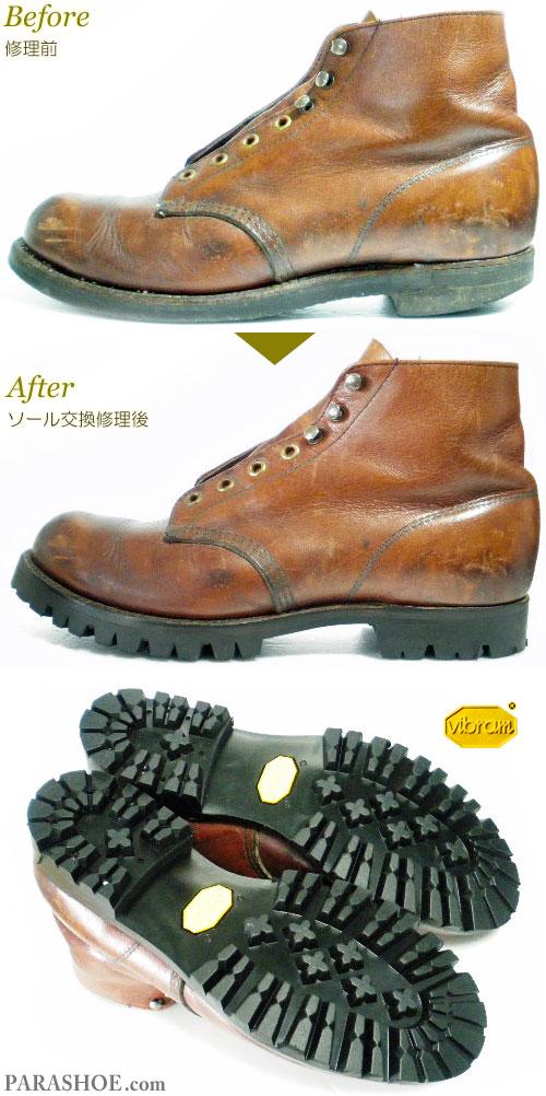 レッドウィング(RED WING)プレーントゥ ワークブーツ 茶色(メンズ 革靴・カジュアルシューズ・紳士靴)オールソール交換修理(靴底張替え修繕リペア)/ビブラム(vibram)1100(黒)-グッドイヤーウェルト製法 修理前と修理後