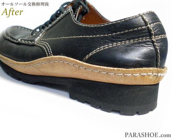 リーガル(REGAL)Uチップ カジュアルシューズ 黒(メンズ 革靴・紳士靴)ビブラム(vibram)2333 ハーフラバー(ハーフソール)+ヒール交換 修理後