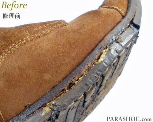 サッチ(SATCHI)イタリア製 ストレートチップ チャッカーブーツ ドレスシューズ 茶色スエード(メンズ 革靴・ビジネスシューズ・紳士靴)オールソール交換修理(靴底張替え修繕リペア)/英国ダイナイトソール(Dainite sole)ダークブラウン-マッケイ製法 修理前のウェルト破損部分