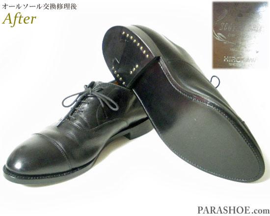 スコッチグレイン(SCOTCH GRAIN)日本製 内羽根ストレートチップ ドレスシューズ 黒(メンズ 革靴・ビジネスシューズ・紳士靴)のオールソール交換修理(靴底張替え修繕リペア)/レザーソール(革底)+革積み上げヒール+半革リフト&ダークブラウン仕上げ-グッドイヤーウェルト製法 修理後