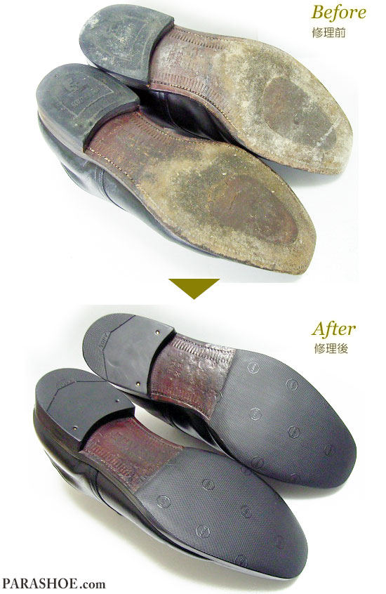 スコッチグレイン(SCOTCH GRAIN)ドレスシューズ 黒(メンズ 革靴・ビジネスシューズ・紳士靴)のハーフソール(ハーフラバー)貼付+ヒールゴムリフト交換 修理前と修理後