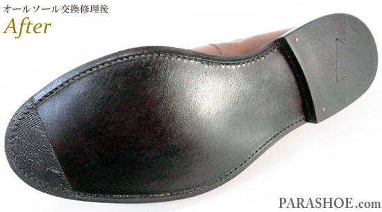 スコッチグレイン(SCOTCH GRAIN)ウィングチップ ドレスシューズ 茶色(メンズ 革靴・ビジネスシューズ・紳士靴)のオールソール交換修理(靴底張替え修繕リペア)/レザーソール(革底)+革積み上げヒール+半革リフト&ダークブラウン仕上げ&つま先ゴム補強&かかと内張補修(スベリ修理)-グッドイヤーウェルト製法 修理後のソール底面