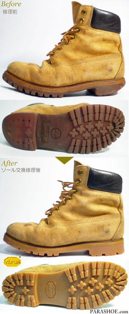ティンバーランド(Timberland)イエローブーツ キャメルベロア(メンズ 革靴・カジュアルシューズ・紳士靴)オールソール交換修理(靴底張替え修繕リペア)/ビブラム(vibram)1136(アメ)-マッケイ製法 修理前と修理後