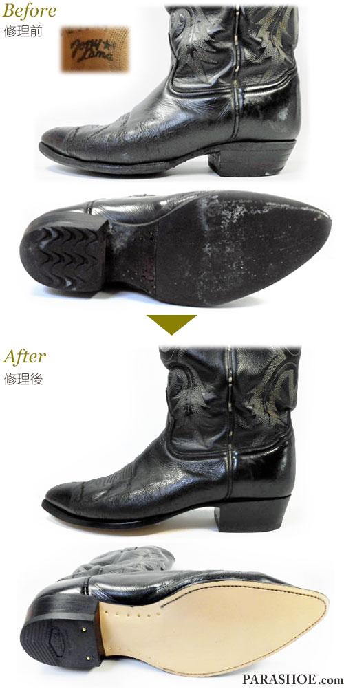 トニーラマ(Tony Lama)ウェスタンブーツ 黒 オールソール交換修理(靴底張替え修繕リペア)/レザーソール(革底)+革積み上げヒール+全ゴムリフト-グッドイヤーウェルト製法 修理前と修理後