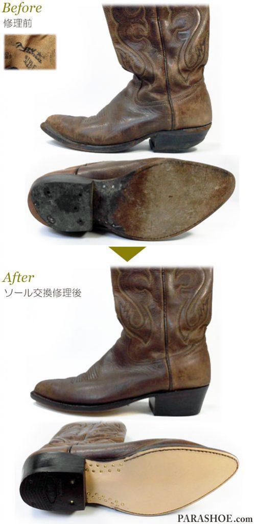 トニーラマ(Tony Lama)ウェスタンブーツ 茶色 オールソール交換修理(靴底張替え修繕リペア)/レザーソール(革底)+革積み上げヒール+全ゴムリフト-グッドイヤーウェルト製法 修理前と修理後