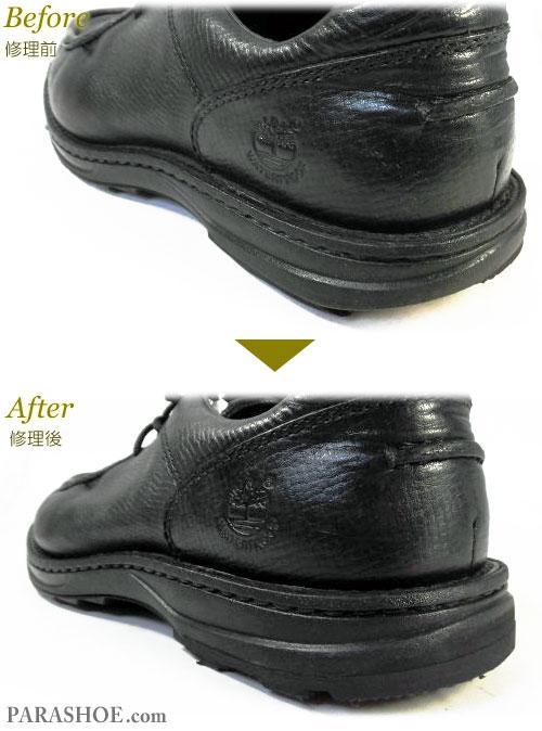 ティンバーランド(Timberland)SMART レザーモックトゥモカシンシューズ 黒(メンズ 革靴・カジュアルシューズ・紳士靴)ヒール(かかと)修理前と修理後のヒール部分