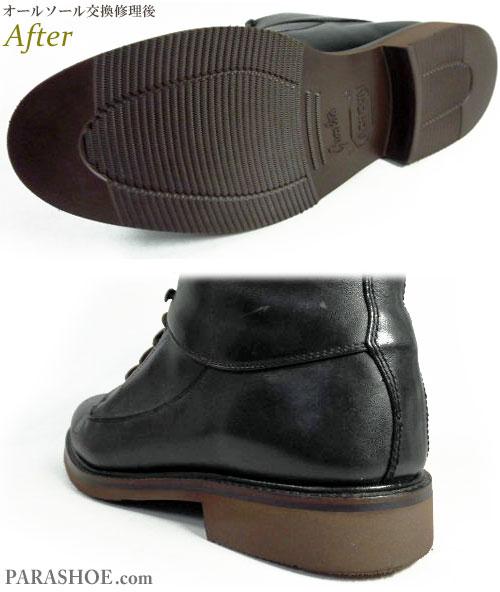 コールハーン(Cole Haan)レースアップ ワークブーツ 黒(メンズ 革靴・カジュアルシューズ・紳士靴)オールソール交換修理(靴底張替え修繕リペア)/ビブラム(Vibram)2810 ガムライト(ダークブラウン)-マッケイ製法 修理後のソール底面とヒール部分