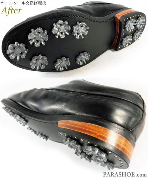 フットジョイ(FootJoy)クラシックスドライ(Classics Dry)ゴルフシューズ オールソール交換修理(靴底張替え修繕リペア)/ラバーソール(黒)+革積み上げヒール+ソフトスパイク鋲(ミリサイズ)-グッドイヤーウェルト製法 修理後のソール底面とヒール革積み上げ部分