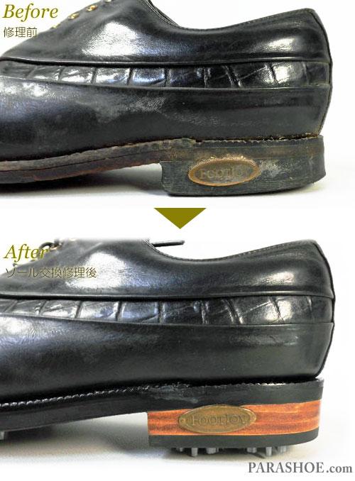 フットジョイ(FootJoy)クラシックスドライ(Classics Dry)ゴルフシューズ オールソール交換修理(靴底張替え修繕リペア)/ラバーソール(黒)+革積み上げヒール+ソフトスパイク鋲(ミリサイズ)-グッドイヤーウェルト製法 修理前と修理後のヒールのロゴプレート付け替え部分
