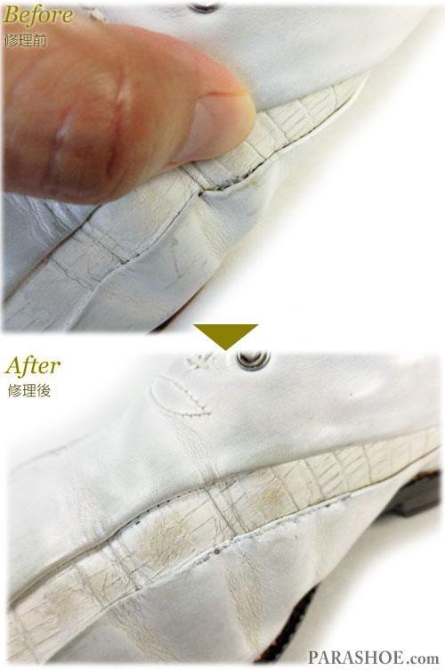 ゴルフシューズ 甲革ほつれ縫い直し補修 修理前と修理後