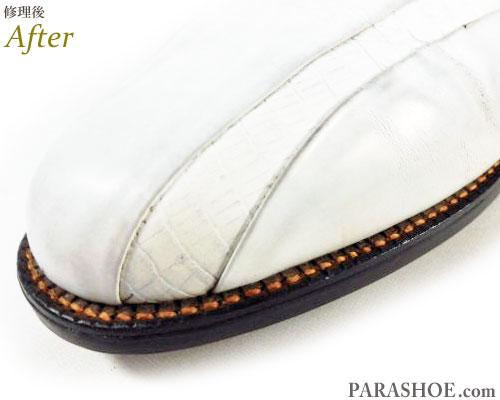 フットジョイ(FootJoy)クラシックスドライ(Classics Dry)ゴルフシューズ 白 オールソール交換修理(靴底張替え修繕リペア)/レザーソール(革底)+ソフトスパイク鋲(ミリサイズ)-グッドイヤーウェルト製法 修理後のウェルト出し縫い部分