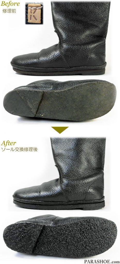 KOOS(コース)レディースブーツ(婦人靴)黒 オールソール交換修理(靴底張替えリペア)/天然クレープソール(生ゴム)&ブラック仕上げ-マッケイ製法 修理前と修理後
