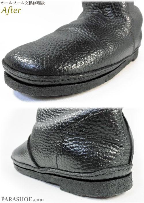 KOOS(コース)レディースブーツ(婦人靴)黒 オールソール交換修理(靴底張替えリペア)/天然クレープソール(生ゴム)&ブラック仕上げ-マッケイ製法 修理後のソール周り