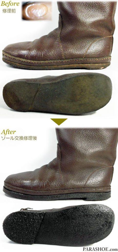 KOOS(コース)レディースブーツ(婦人靴)ダークブラウン オールソール交換修理(靴底張替えリペア)/天然クレープソール(生ゴム)&ダークブラウン仕上げ-マッケイ製法 修理前と修理後