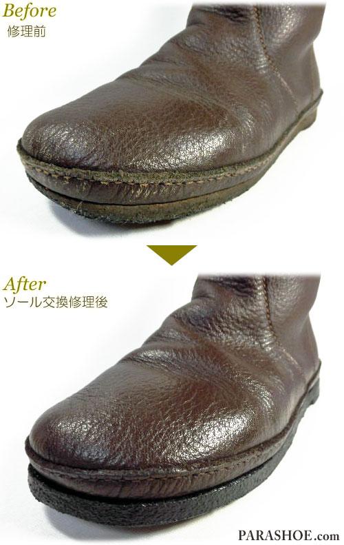 KOOS(コース)レディースブーツ(婦人靴)ダークブラウン オールソール交換修理(靴底張替えリペア)/天然クレープソール(生ゴム)&ダークブラウン仕上げ-マッケイ製法 修理前と修理後のつま先部分