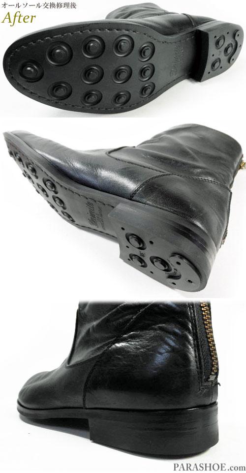 パドローネ(PADRONE)日本製 ジップアップメンズブーツ カジュアルドレスシューズ 黒(革靴・紳士靴)オールソール交換修理(靴底張替え修繕リペア)/英国ダイナイトソール(Dainite sole)黒+革積み上げヒール-マッケイ製法 修理後のソール底面とヒール革積み上げ部分