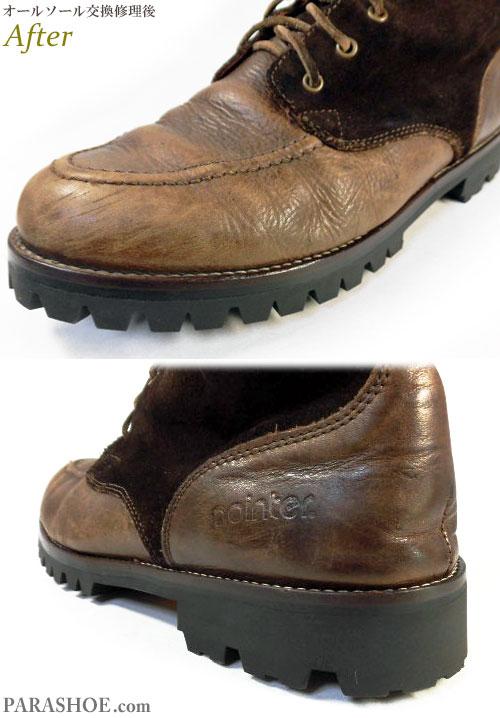 ポインター(pointer)ワークブーツ 茶色(メンズ 革靴・カジュアルシューズ・紳士靴)オールソール交換修理(靴底張替え修繕リペア)/ビブラム(vibram)100 ファイヤー&アイス(黒)-マッケイ製法 修理後のウェルト部分とヒール部分