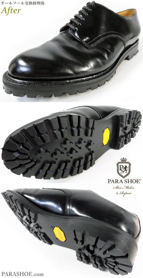 リーガル(REGAL)JD01 プレーントゥ ドレスシューズ 黒(メンズ 革靴・ビジネスシューズ・紳士靴)オールソール交換修理(靴底張替え修繕リペア)/ビブラム(Vibram)1136 黒-グッドイヤーウェルト製法 修理後のウェルト部分と底面