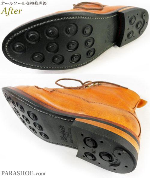 サガラ(SAGARA)インドネシア製 チャッカーブーツ オーダー ドレスシューズ キャメル(メンズ 革靴・ビジネスシューズ・紳士靴)オールソール交換修理(靴底張替え修繕リペア)/英国ダイナイトソール(Dainite sole)黒+革積み上げヒール-ノルウィージャンウエルト製法 修理後の底面とヒール