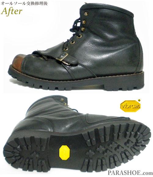 メンズ バイカーブーツ(バイク用レザーブーツ)黒×茶色 オールソール交換修理(靴底張替え修繕リペア)/ビブラム(vibram)1136 黒-グッドイヤーウェルト製法 修理後