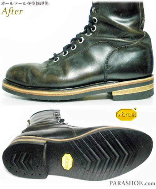 ワークブーツ 黒(メンズ 革靴・カジュアルシューズ・紳士靴)オールソール交換修理(靴底張替え修繕リペア)/ビブラム(vibram)700(黒)+ダブルレザーミッドソール+革積み上げヒール-グッドイヤーウェルト製法 修理後