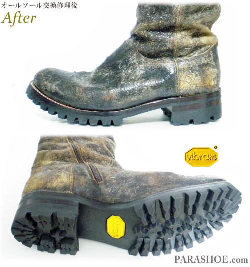 ジップアップブーツ 茶色(メンズ 革靴・カジュアルシューズ・紳士靴)オールソール交換修理(靴底張替え修繕リペア)/ビブラム(vibram)100(黒)+レザーミッドソール+革積み上げヒール-グッドイヤーウェルト製法 修理後