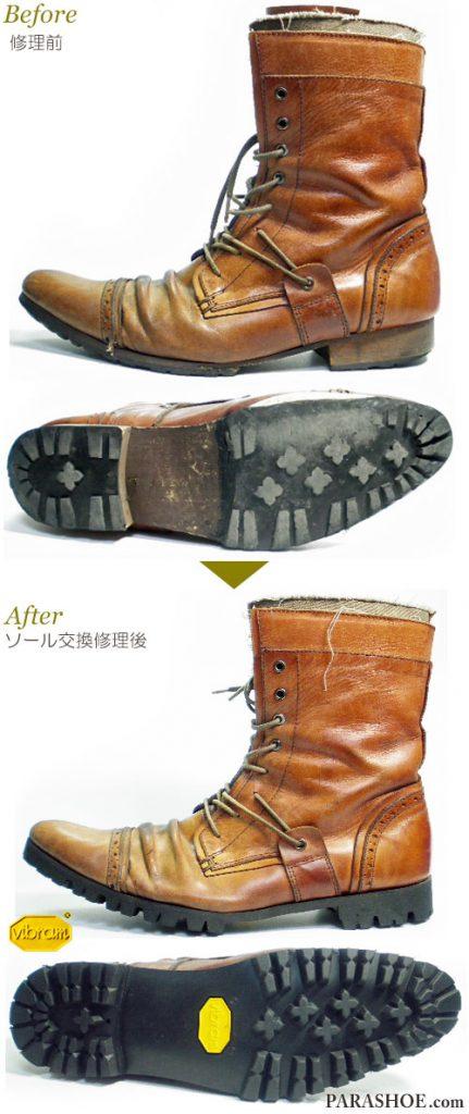 レースアップ 編み上げレザーブーツ 茶色(メンズ 革靴・カジュアルシューズ・紳士靴)オールソール交換修理(靴底張替え修繕リペア)/ビブラム(vibram)1136 黒-マッケイ製法 修理前と修理後