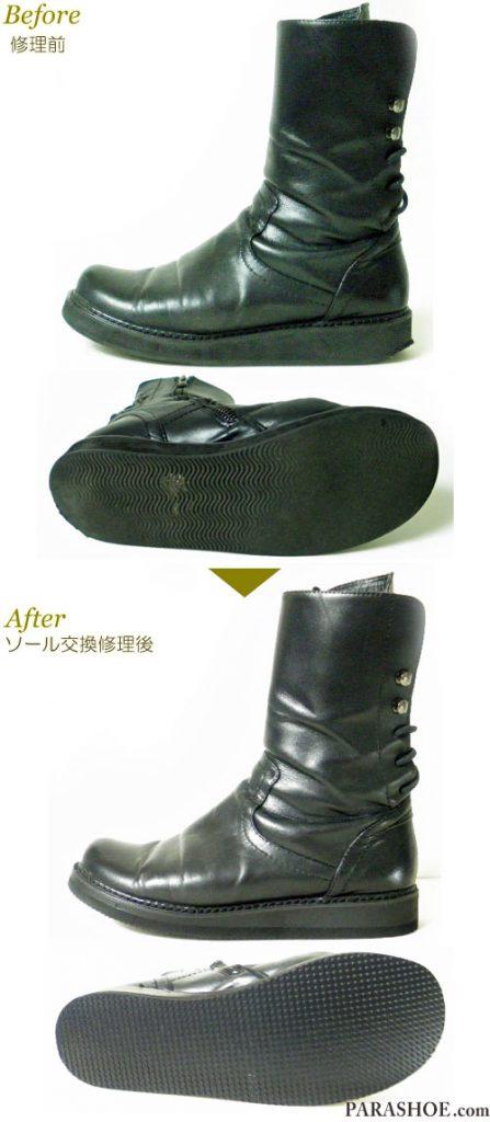 レディース厚底ブーツ 黒(婦人靴)オールソール交換修理(靴底張替え修繕リペア)/ビブラム(vibram)スポンジボード 黒+厚底ミッドソール-マッケイ製法 修理前と修理後