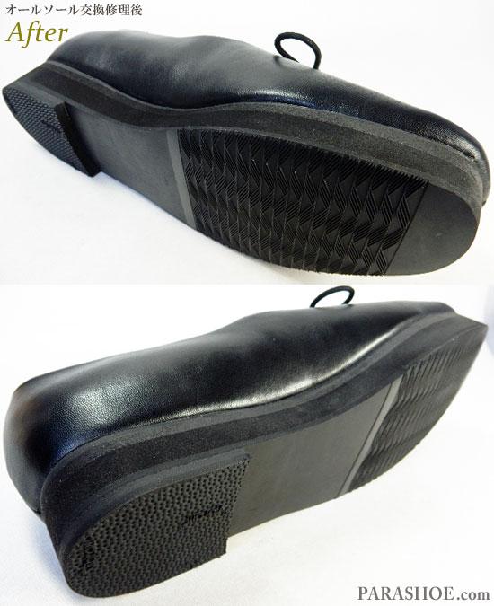 オリエンタル トラフィック(ORiental TRaffic)レディースパンプス(婦人靴)オールソール交換修理(靴底張替え修繕リペア)/片足のみ厚底(上げ底)へ修理後のソール底面とヒール底面