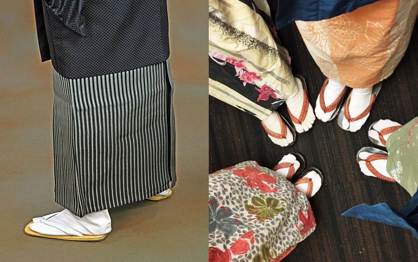 着物に足袋と草履を履く日本人