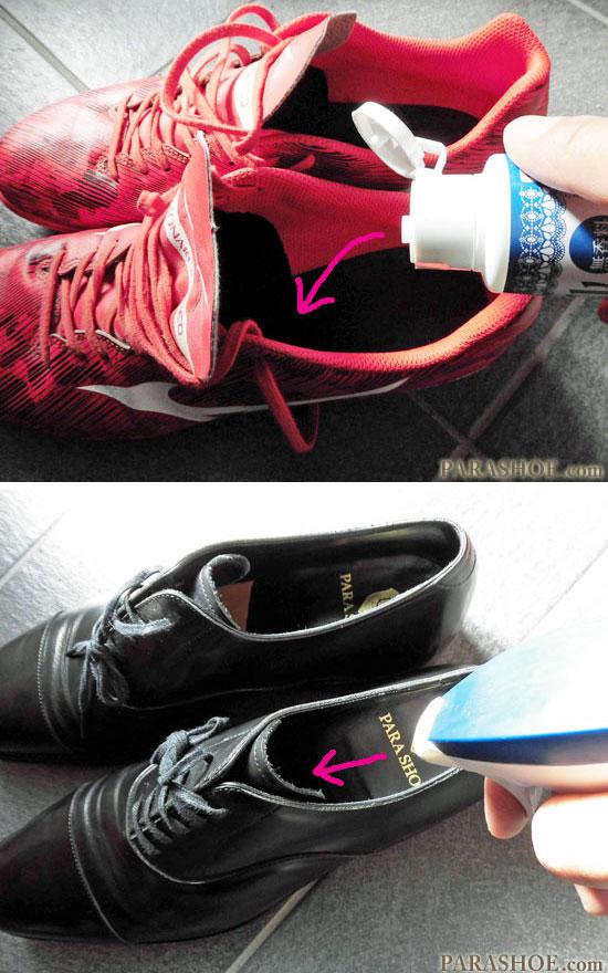 抗菌消臭パウダーと抗菌消臭ミストスプレーをスポーツシューズと革靴にかけている写真