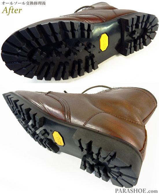 アスビーズ(ASBee's)セッタータイプ ワークブーツ ダークブラウン(メンズ 革靴・カジュアルシューズ・紳士靴)オールソール交換修理(靴底張替え修繕リペア)/ビブラム(vibram)1136(黒)-マッケイ製法 修理後の底面