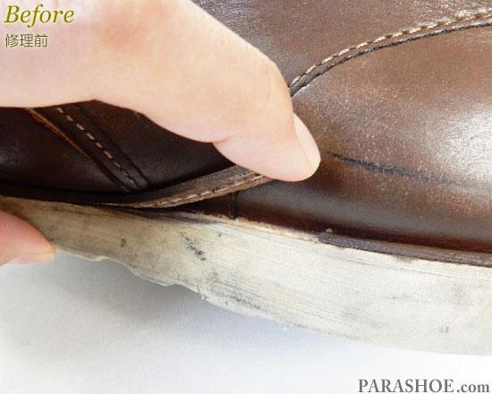 アスビーズ(ASBee's)セッタータイプ ワークブーツ ダークブラウン(メンズ 革靴・カジュアルシューズ・紳士靴)オールソール交換修理(靴底張替え修繕リペア)/ビブラム(vibram)1136(黒)-マッケイ製法 修理前のウェルト破損部分