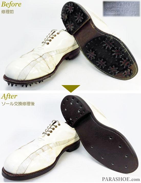 フットジョイ(FootJoy)クラシックスドライ(Classics Dry)ゴルフシューズ 白 オールソール交換修理(靴底張替え修繕リペア)/ラバーソール(ダークブラウン)-グッドイヤーウェルト製法 修理前と修理後