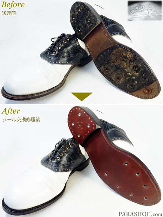 フットジョイ(FootJoy)クラシックスドライ(Classics Dry)ゴルフシューズ 白×黒サドル オールソール交換修理(靴底張替え修繕リペア)/レザーソール(革底)-グッドイヤーウェルト製法 修理前と修理後