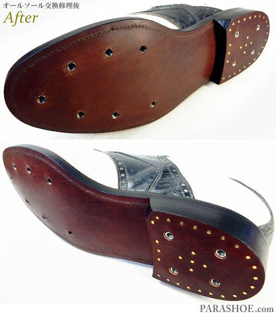 フットジョイ(FootJoy)クラシックスドライ(Classics Dry)ゴルフシューズ 白×黒サドル オールソール交換修理(靴底張替え修繕リペア)/レザーソール(革底)-グッドイヤーウェルト製法 修理後のソール底面