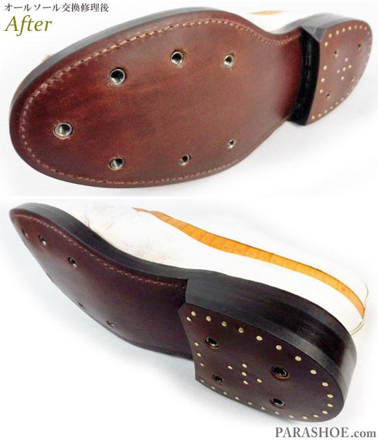 フットジョイ(FootJoy)クラシックスドライ(Classics Dry)ゴルフシューズ 白×茶色 オールソール交換修理(靴底張替え修繕リペア)/レザーソール(革底)-グッドイヤーウェルト製法 修理後のソール底面